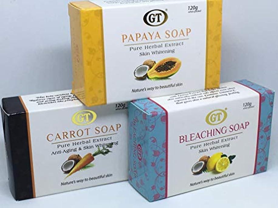 パトロンコントロールポテトGT COSMETICS 無添加 ココナッツ&パパイヤ,レモン,キャロットソープ 120g 各1個ずつ 3個セット