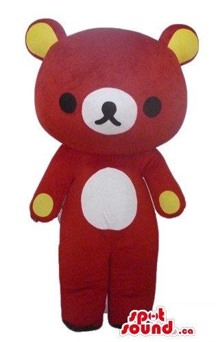 かわいい赤いクマの漫画のキャラクターをマスコットカナダ衣装仮装をSpotSound