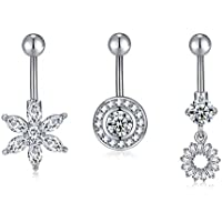 BOBOSTYLE 14G Stainless Steel Belly Button Rings Barbell Navel Rings Bar for Women CZ Flower Body Piercing
