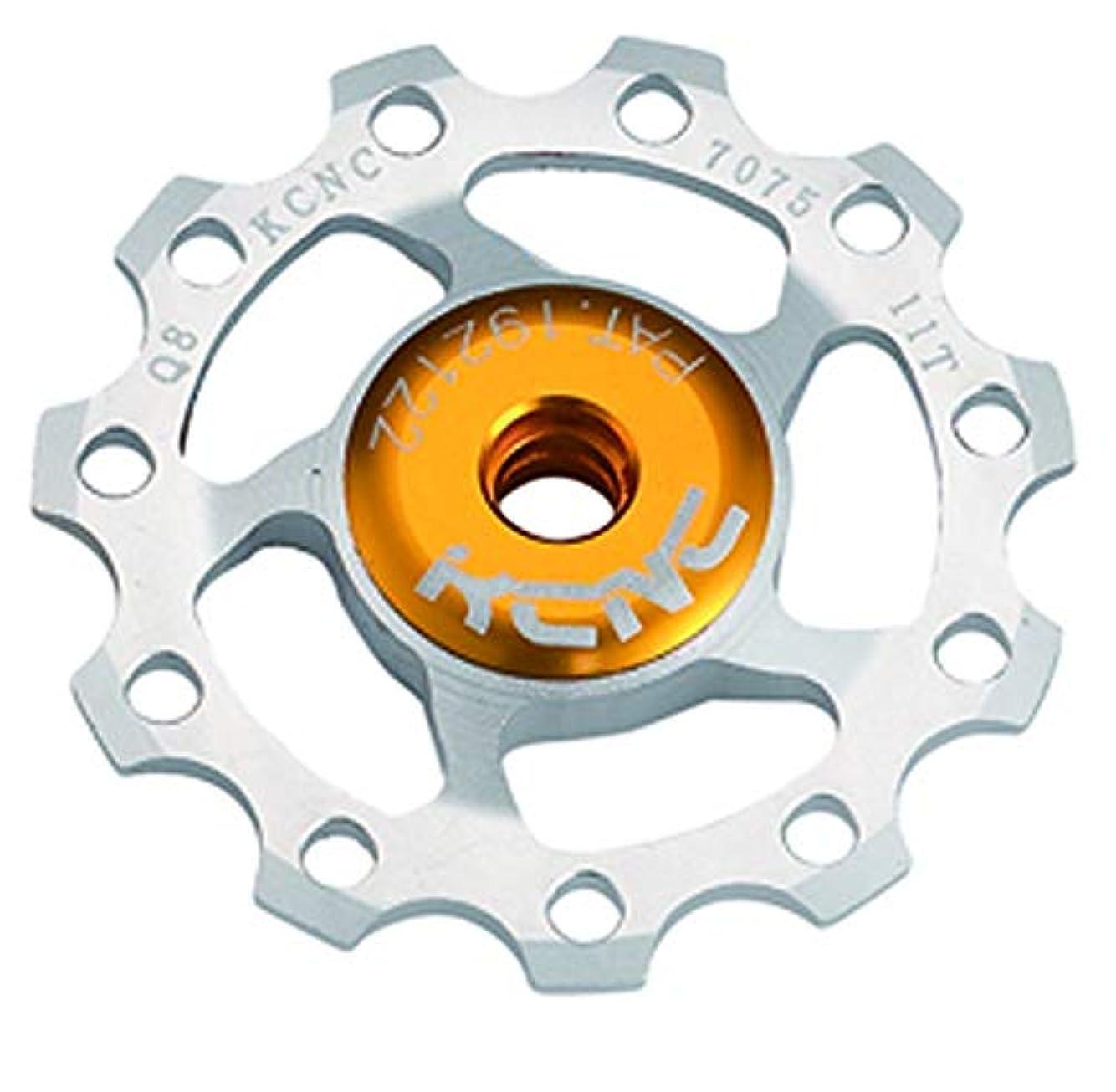 回るテープジェットKCNC 自転車 軽量 ベアリング内蔵 ディレーラーパーツ ジョッキーホイール 15T プーリー 11S/10S/9S シルバー 304404