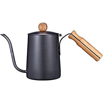 Kslong コーヒーポット細口ケトルハンドパンチポットステンレス製ティーポット木製ハンドルグースネックティーポットノンスリップハンドルの熱