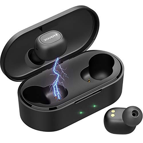 ZOVER Bluetooth イヤホン 高音質 最新Bluetooth5.0 完全 ワイヤレス イヤホン 自動ペアリング ブルートゥース イヤホン 左右分離型 Siri対応 音量調整可能 充電ケース付き 120時間連続駆動 IPX7防水規格 軽量素材 タッチ式 マイク内蔵 片耳両耳とも対応 iPhone/ipad/Android適用 (ブラック)