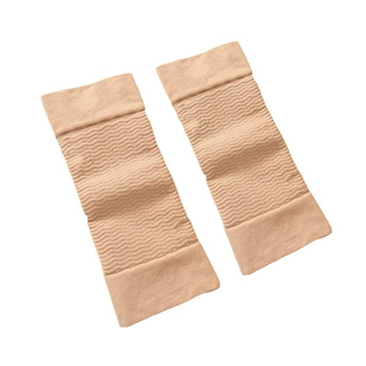させる付添人フィードバック1ペア420 D圧縮痩身アームスリーブワークアウトトーニングバーンセルライトシェイパー脂肪燃焼袖用女性 - 肌色