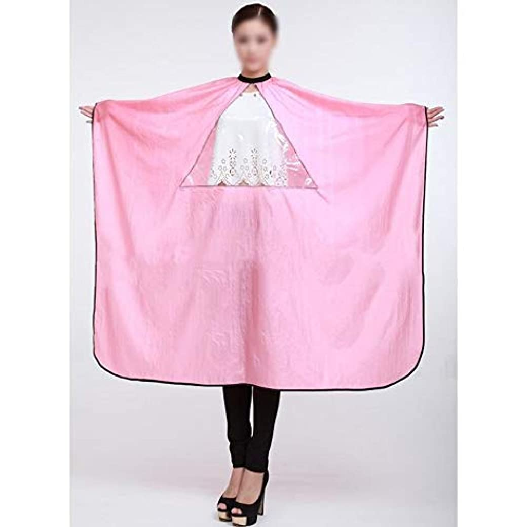 どこにでも可能反響する理髪店の防水毛の切断の岬のための透明な大広間の美容院のエプロンの毛布 モデリングツール (色 : ピンク)