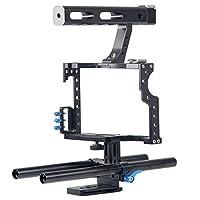 PULUZ カメラビデオケージ アルミニウム合金 ハンドルスタビライザーステディカム 撮影安定性機材 ビデオカメラサポート スタビライザーキット 映画制作カメラビデオケージセット軽量 取付便利 耐久性 耐食性 スタビライザーケージ Panasonic Lumix DMC - gh4 & Sony a7/ a7s/ a7r/ a7rii/ a7sii のために (ブルー)
