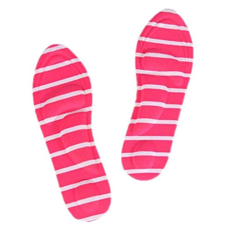 アパート感性太字Bixiangji 1ペア4Dスポーツスポンジソフトインソールハイヒールシューパッド痛み緩和アーチサポートクッション (Color : Rose red stripes)