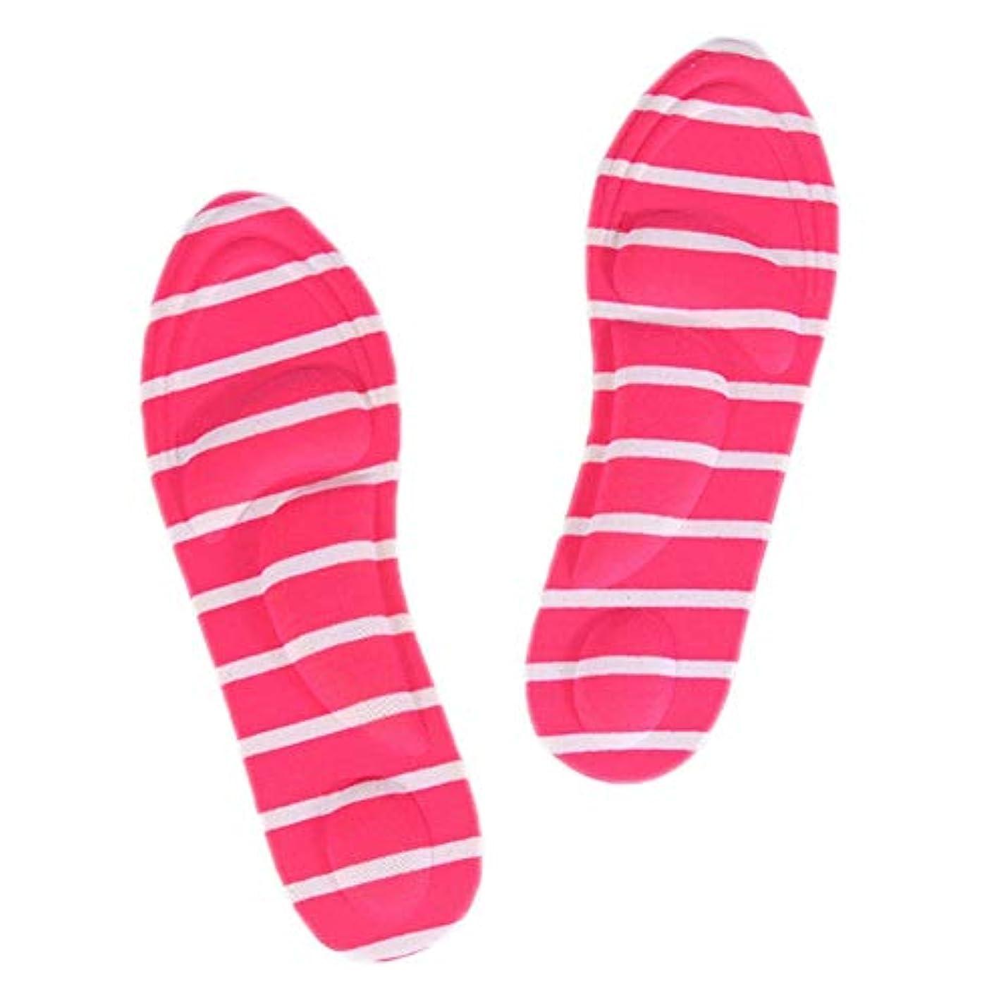 バーティッシュカウンタBixiangji 1ペア4Dスポーツスポンジソフトインソールハイヒールシューパッド痛み緩和アーチサポートクッション (Color : Rose red stripes)