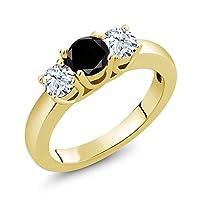 Gem Stone King 1.21カラット 天然ブラックダイヤモンド 天然 トパーズ (無色透明) シルバー925 イエローゴールドコーティング 指輪 リング
