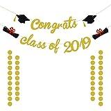 Congrats Class of 2019 卒業パーティー用品 2019 | ゴールドグリッター卒業バナー 卒業式デコレーション | 卒業パーティー装飾 高校またはプロム | ゴールドキラキラサークルドットガーランド