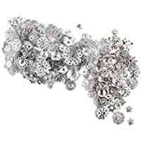 SUPVOX Tibetan Silver Flower Beads Pendants Floral Charms Charms for Jewelry Making Art Craft (Silver/ 50g)