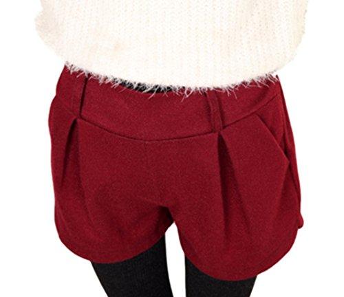 (ペプ) PEPU シンプル カラー カジュアル ホット ショート パンツ レディース ファッション ボトムス キュロット (ワインレッド)