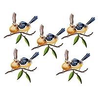 パッチ 5個 刺繍 アイロンオン かわいい 鳥柄 バッジ 布ステッカー 装飾 衣料品店 全7種 - 103