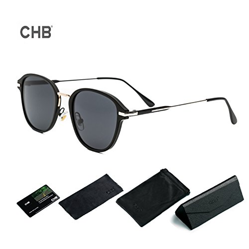CHB サングラス レディース 偏光レンズ ミラー UVカット 紫外線カット 日焼け対策 レトロ おしゃれ メガネ拭き ケース付き (グレー-1)