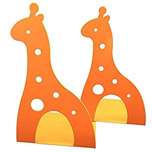 ブックエンド 可愛い アニマル キリン おしゃれ 卓上 本立てカワイイ ブックエンド可愛い 2枚セット (キリン オレンジ)