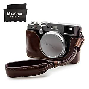 kinokoo 富士フイルム FUJIFILM X100F専用オープナブルタイプ ボディケース バッテリーの交換でき 三脚ネジ穴付き カメラケース 標識クロス付き(コーヒーA)