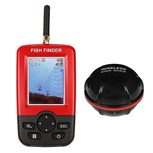 LeaningTech 携帯型フィッシュファインダー 無線魚群探知機 セット ワイヤレス カラーLCDモニター LEDバックライト ソナーセンサー 水中魚釣り 防水 ポータブル レッド