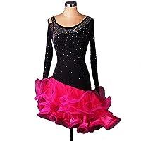 DanceQueen Women's Spandex Latin Dance Dress Black 1 Set