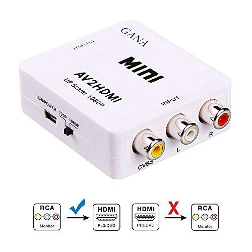 AV2HDMI 変換 コンバーター GANA AV to HDMI 変換 端子 RCA to HDMI USBケーブル付き 1080p対応 デジタル アナログ オーディオ ホワイト