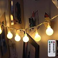 LE 電池式 LEDイルミネーション 5m 50球 電球色 ストリングライト 8点灯モード 防滴 電池ボックスとリモコン付き クリスマス飾り パーティー 結婚式 誕生日