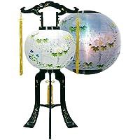 盆提灯 11号 置き型 あかり 蘭蒔絵入 廻転灯付 高さ83cm 電気コード式 日本製 行灯 盆提灯 八女提灯