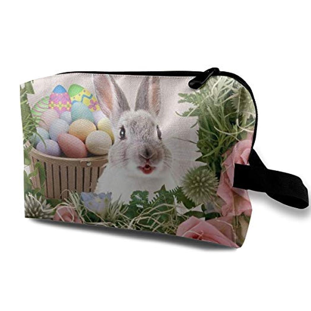 リビングルーム浜辺心のこもったEaster Rabbit Egg 収納ポーチ 化粧ポーチ 大容量 軽量 耐久性 ハンドル付持ち運び便利。入れ 自宅?出張?旅行?アウトドア撮影などに対応。メンズ レディース トラベルグッズ