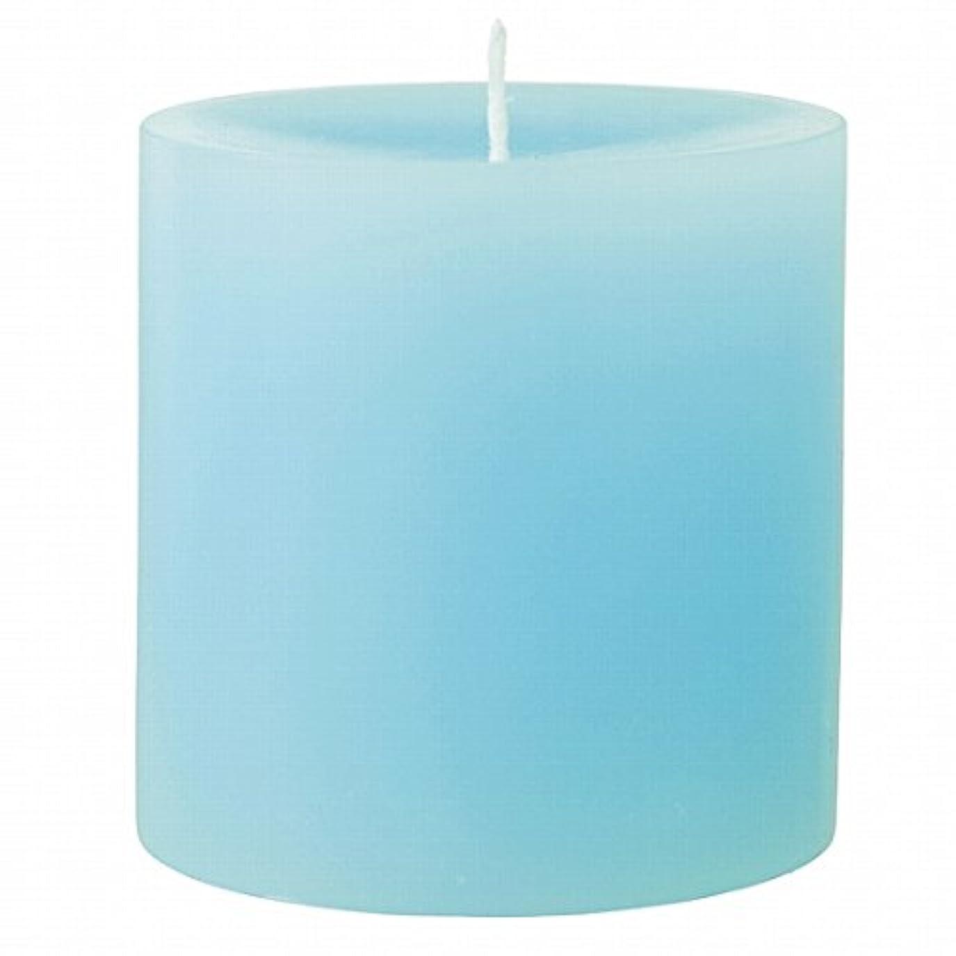 パット不規則なマーキングカメヤマキャンドル(kameyama candle) 75×75ピラーキャンドル 「 ライトブルー 」