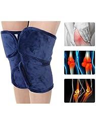 電気加熱膝ブレースサポート - 膝温かいラップパッド療法ホット関節炎膝の痛みのための熱い圧縮,Blue