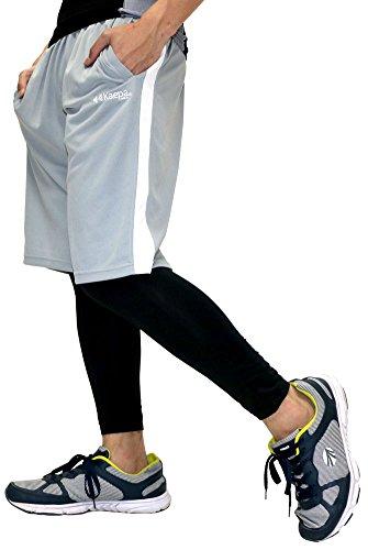 Kaepa(ケイパ) ランニングウェア コンプレッション タイツ ショートパンツ セット メンズ ミディアムグレー M