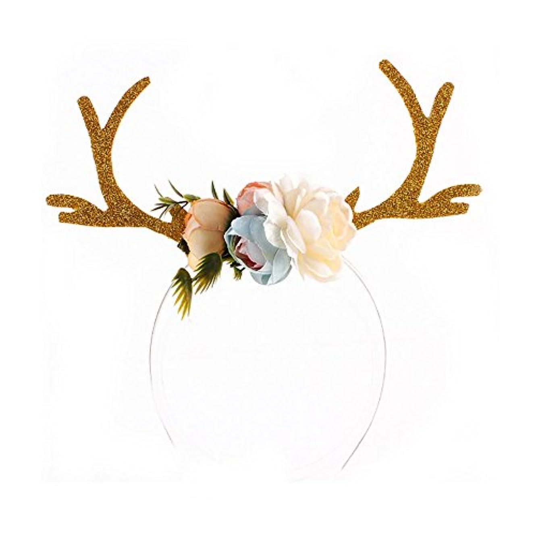 地球ぼんやりした葉を集めるKicode クリスマス カーキ アントラーズ耳カチューシャ 髪のフープ 花で ギフトおもちゃ 女の子の誕生日