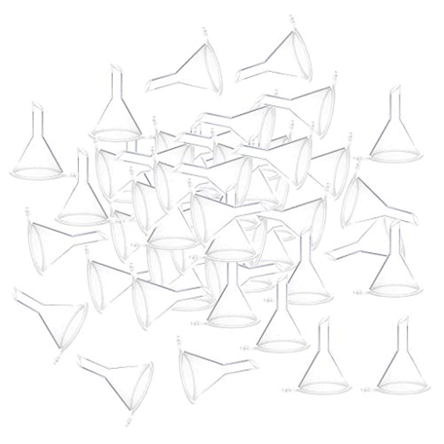 脊椎ピクニック蚊CUTICATE 全3色 100個 小瓶 香水瓶 バイアルのため ファンネル 漏斗 - クリア