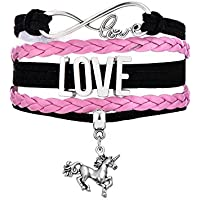 Infinity Love Unicorn Charm Multilayer Leather Bracelet Jewelry Gift for Girls