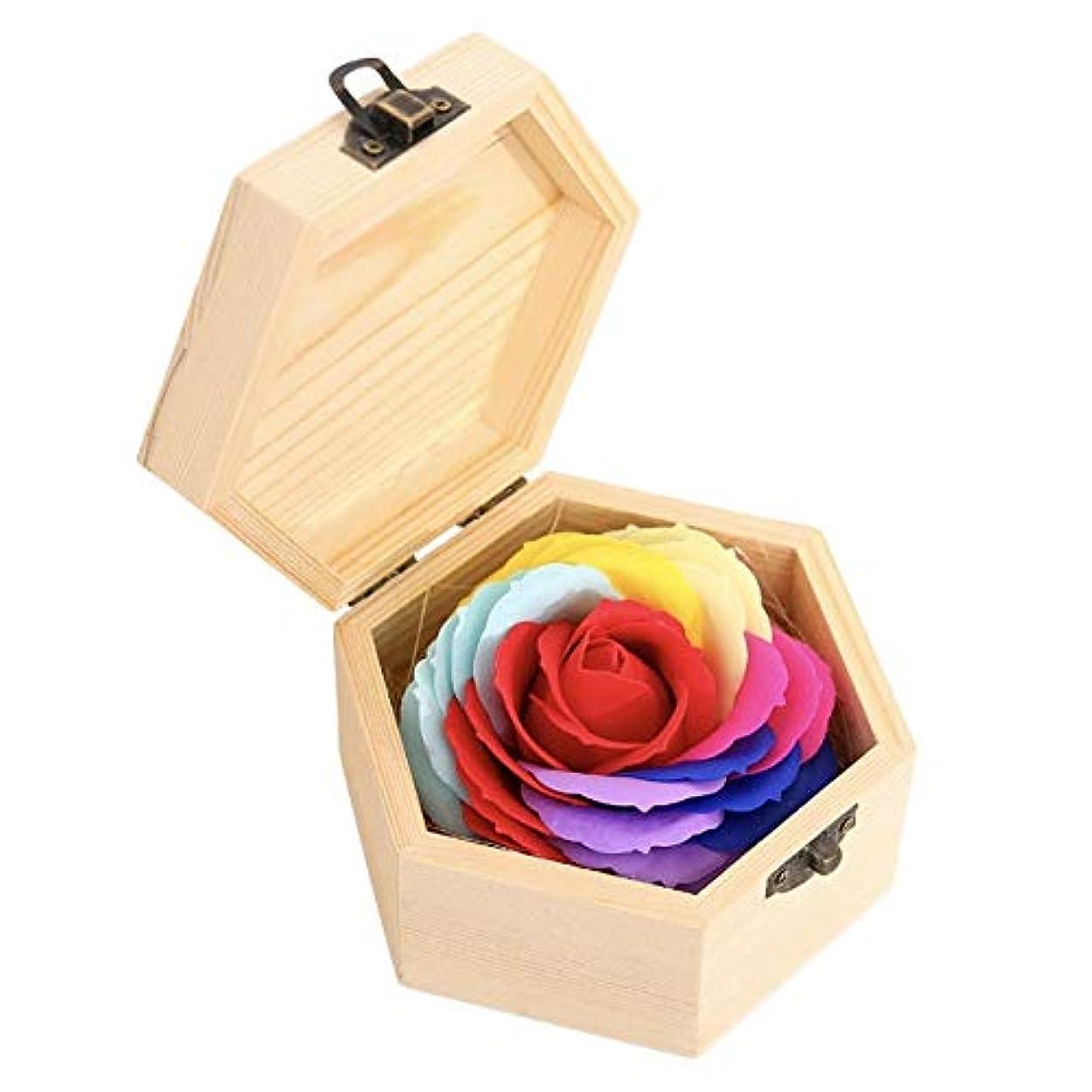底防止表面タイガーリー。 バスソープ 花 バラ クリエイティブギフト 木製ボックス付き パーティー用品