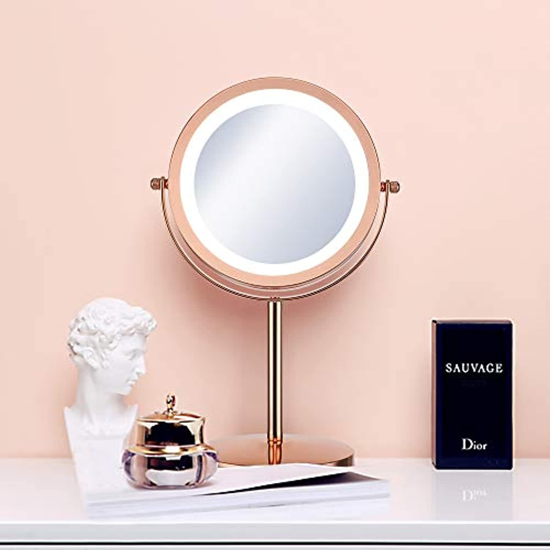 伝導率プラスマット(セーディコ)Cerdeco 西洋風卓上鏡DX レトロなゴールド LEDライト付き 5倍拡大率 両面化粧鏡 スタンドミラー 鏡面φ178mm T710G