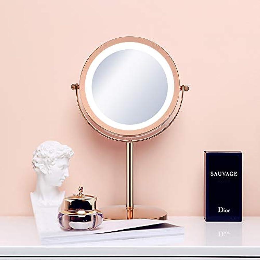 ワンダーバージンラテン(セーディコ)Cerdeco 西洋風卓上鏡DX レトロなゴールド LEDライト付き 5倍拡大率 両面化粧鏡 スタンドミラー 鏡面φ178mm T710G