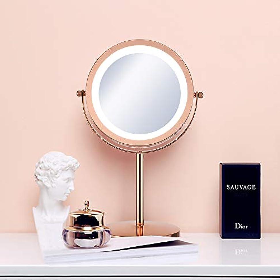伝記不実無し(セーディコ)Cerdeco 西洋風卓上鏡DX レトロなゴールド LEDライト付き 5倍拡大率 両面化粧鏡 スタンドミラー 鏡面φ178mm T710G
