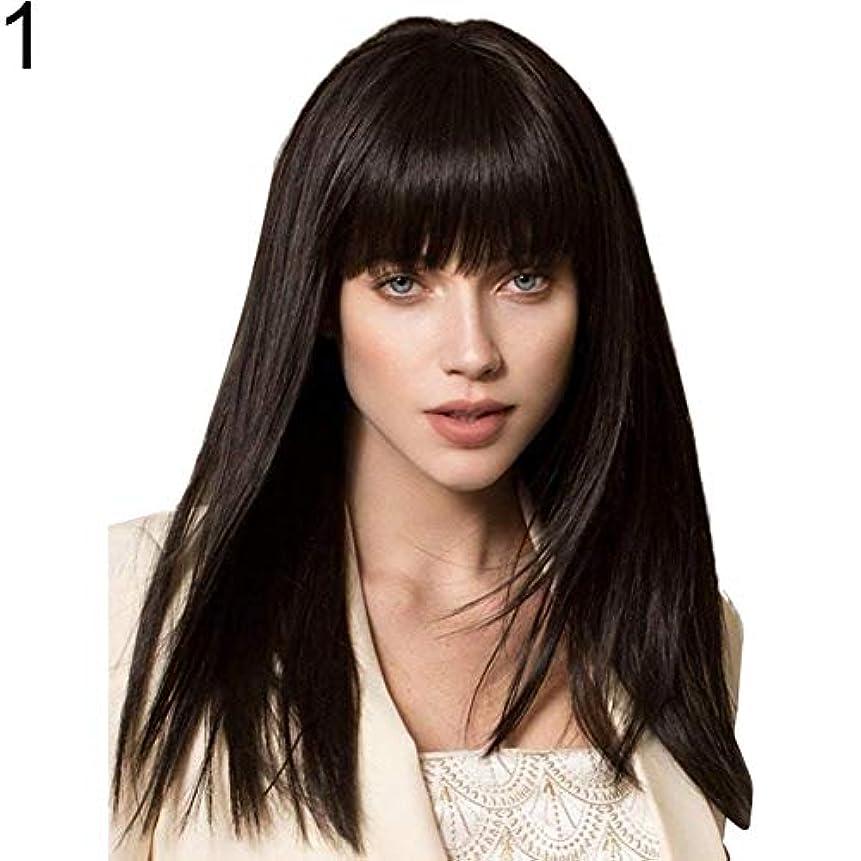乱れおじいちゃんガラスslQinjiansav女性ウィッグ修理ツール高温繊維女性長いストレートブラックブラウンバングウィッグ合成髪