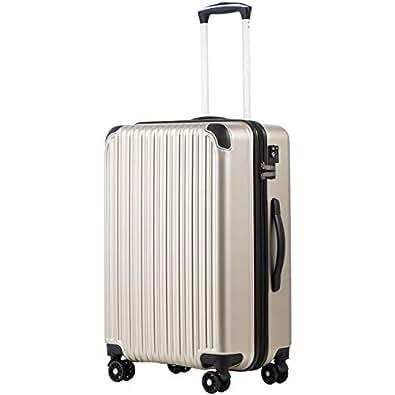 [クールライフ] COOLIFE スーツケース キャリーバッグダブルキャスター 二年安心保証 機内持込 ファスナー式 人気色 超軽量 TSAローク (M サイズ(24in), シャンパン)