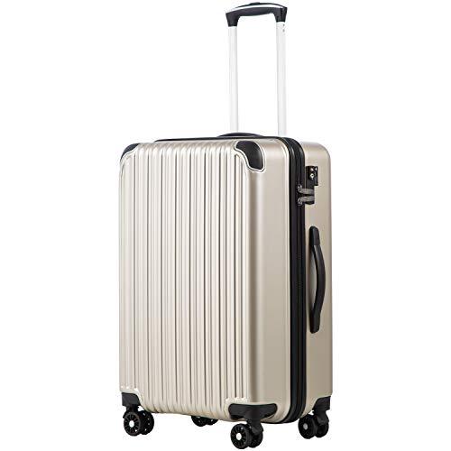 COOLIFE スーツケース キャリーバッグダブルキャスター 機内持込 ファスナー式 人気色 超軽量 TSAローク B07DKYXCHC 1枚目