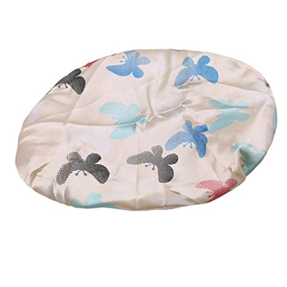 分析する心理的警戒YUEHAO シャワーキャップ 入浴キャップ可愛い防水帽 弾性の防水ヘアキャップ ベージュボトムバタフライ
