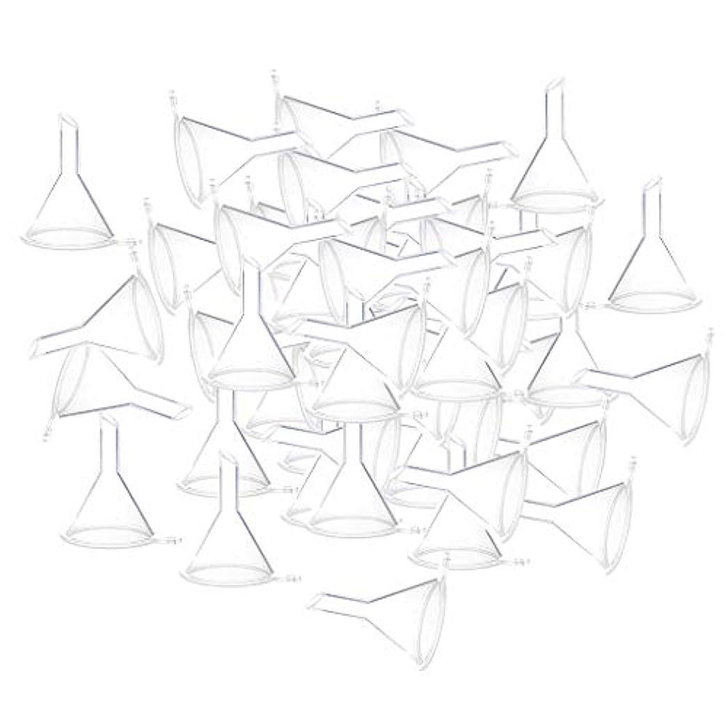 イタリックプットダーベビルのテスエッセンシャルオイル 液体 香水用 小分けツール ミニ ファンネル 100個入り 全3色 - クリア