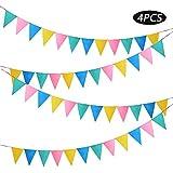 4本入り ガーランド フラッグ 4色 カラフル フェルト製 三角旗 パーティー 運動会 文化祭 幼稚園 店舗 飾り