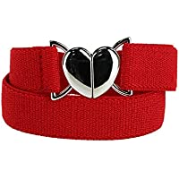 Aquarius Girl's Elastic Belt with Heart Shaped Closure, Red