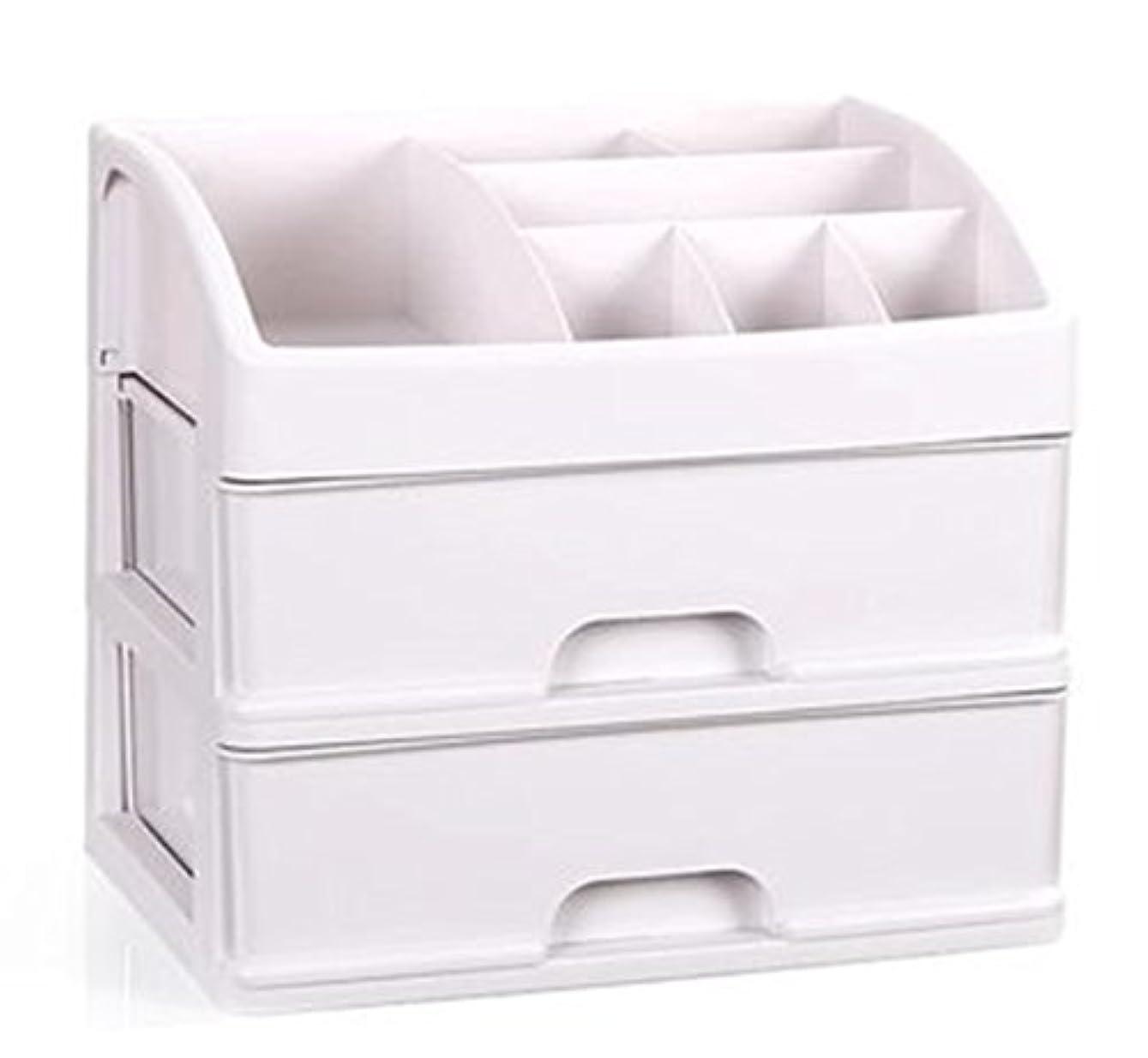 論争的定期的ハッチZUOMAメークボックス 化粧品収納ボックス コスメスタンド 引き出し式 メークケース 小物/化粧品入れ コスメ収納 透明アクリル 大容量 (ホワイト34*25*29CM(2層))
