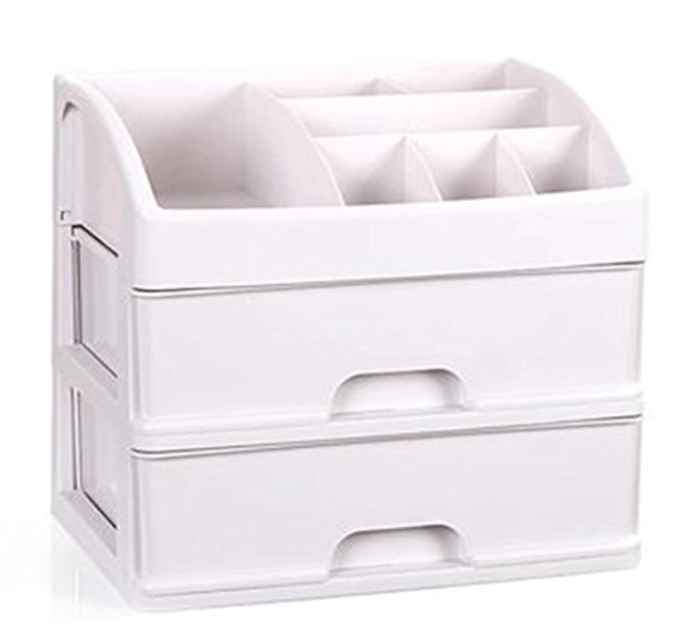 バスケットボール連合毎日ZUOMAメークボックス 化粧品収納ボックス コスメスタンド 引き出し式 メークケース 小物/化粧品入れ コスメ収納 透明アクリル 大容量 (ホワイト34*25*29CM(2層))