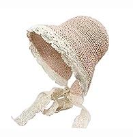 レディース折りたたみ麦わら帽子エレガントなレースの縁結び目バイザー用女の子夏、ピンク
