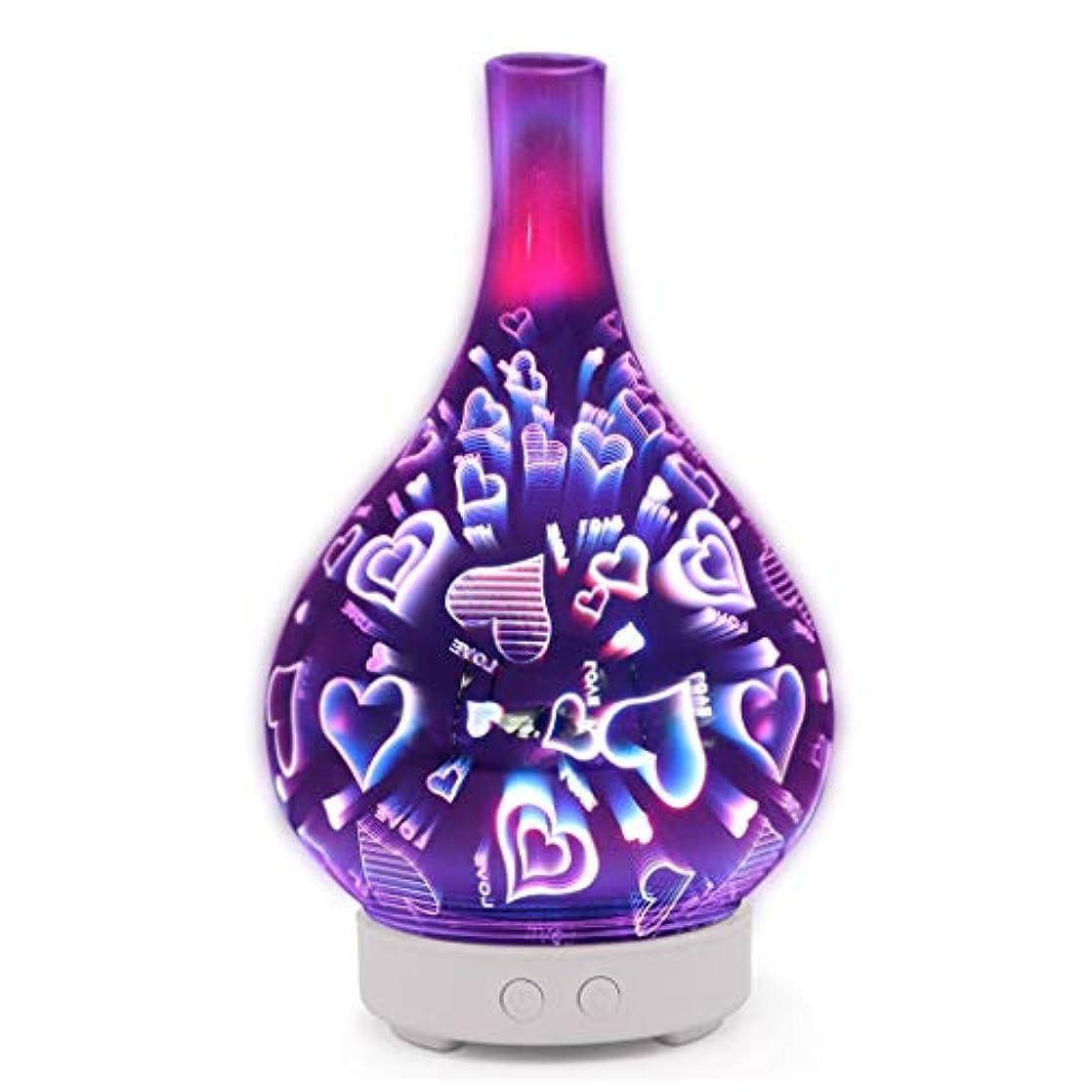 キャンベラカートリッジファンシーすばらしいLEDライト、便利な自動操業停止および大きい水漕が付いている3Dガラスギャラクシー優れた超音波加湿器 (Color : Love)