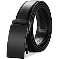 "Men's Belt-Leather Ratchet Belt Dress with Slide Click Buckle Adjustable -1 3/8"" Trim to Exact Fit."