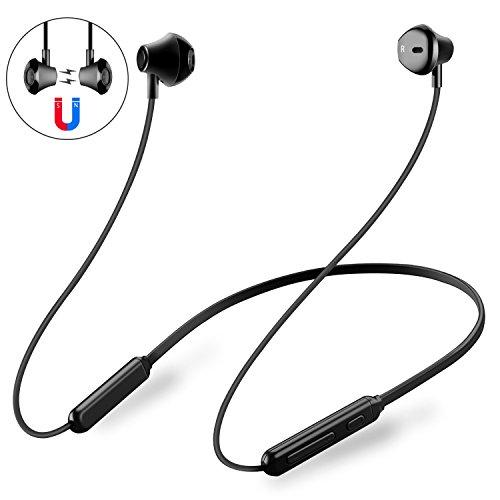 PZX Bluetooth イヤホン 高音質 マイク付き ワイヤレス イヤホン 10時間連続再生 IPX5防水 マグネット搭載 CVC6.0ノイズキャンセリングスポーツ [メーカー1年保証] ブルートゥース イヤホン iPhone Android対応 (ブラック-)