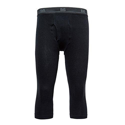 (ビー・ブイ・ディ)B.V.D. 防寒 あったか 綿混丸編み 7分丈タイツ SP0570A BK ブラック M