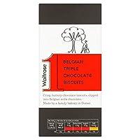 ベルギートリプルチョコレートビスケット125グラム (Waitrose) (x 4) - Belgian Triple Chocolate Biscuits Waitrose 125g (Pack of 4)